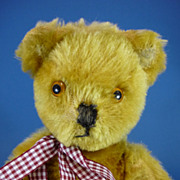 "REDUCED 12"" Pedigree Golden Mohair Teddy Bear Vintage With Bells in Ears c1950"