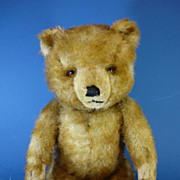 REDUCED 15&quot; Hermann Apricot Tipped Plush Teddy Bear c1950s German Vintage