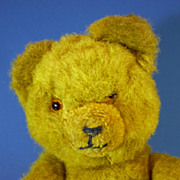 "SALE PENDING 12.5"" Mustard Coloured Hermann Bear Plush c1950 German Vintage"