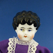China Head Doll House Doll on Straw Stuffed Cloth Body 19th Century