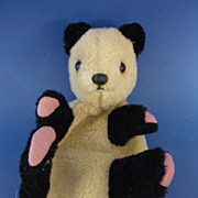9.75&quot; Vintage Plush Fabric Panda Glove Puppet c1950s