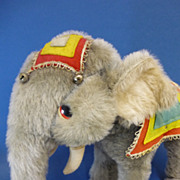 Large Vintage Merrythought Carnival Indian Elephant Vintage Soft Toy C1960s