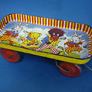REDUCED Vintage Happynack Tin Plate Pull Along Cart With Golly Designs