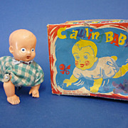 Small Japanese Wind up Celluloid Crawling Baby Doll c1930s