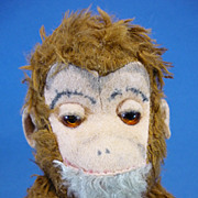 "REDUCED 12"" Vintage Plush Fabric Jointed Monkey by Schuco German"