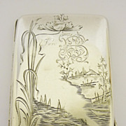 Imperial Russian Solid Silver Cigarette Case With Engraved Lakeland Scene C1900