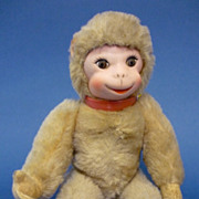 12&quot; Vintage Mohair & Vinyl Jointed Monkey by Schuco German C1950