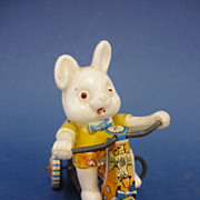 Celluloid & Litho Tin Plate Rabbit on Tricycle Wind-up Toy