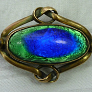 Art Nouveau Brooch with Large Peacock Foil Stone