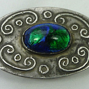 Arts and Crafts Brooch with Large Peacock  Foil Stone