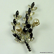 French Designer Rhinestone & Faux Pearl Brooch