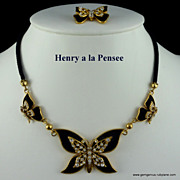 Butterfly Necklace and Pin by Henry a la Pensee