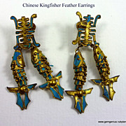 Kingfisher Feather Articulated  Fish Earrings