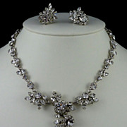 Austrian Rhinestone Necklace and Schoffel Earrings