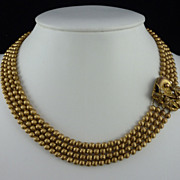Early Miriam Haskell Gilt Bead Necklace