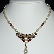 Baroque Faux Pearl Glass Garnet Bead and Rhinestone Necklace