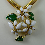 Schreiner Gilt Mesh and Flower Necklace