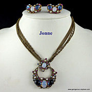 Jonne Rhinestone and Gilt Chain Necklace and Earring Set
