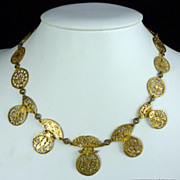 Antique Gilt Watchcock Necklace