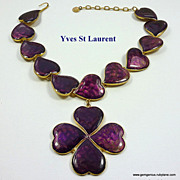 YSL Enamel Hearts Necklace