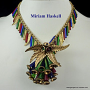 Early Miriam Haskell Necklace Bracelet and Pin