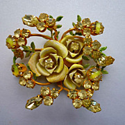 Robert Rhinestone and Enamel Flower Brooch