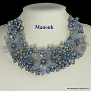 Stunning Manouk glass flower and bead bib necklace