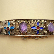 Chinese Enamel and Amethyst, Silver Gilt  Filigree Vermeil Bracelet