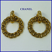 Chanel  Gilt and Rhinestone Doorknocker Earrings