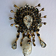 Huge Vintage  Austrian Rhinestone and Pearl Brooch
