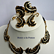 REDUCED Henry a La  Pensee Suede and Rhinestone  Parure