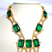 Kenneth Lane  1960's Emerald Rhinestone Bib Necklace