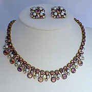 Unsigned Alice Caviness Rhinestone and Faux Pearl Necklace and Earrings