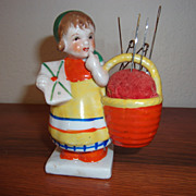Vintage Lustre' ware Girl with Basket Pin Cushion