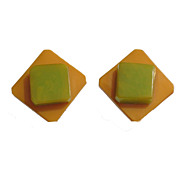 Vintage bi-color BAKELITE laminated clip-on EARRINGS