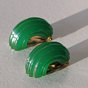 Vintage BAKELITE clip-on hoops carved EARRINGS prystal green