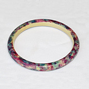 Vintage CELLULOID Bangle BRACELET Art Deco painted design