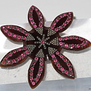 Vintage 1930's Art Deco CELLULOID PIN with rhinestones