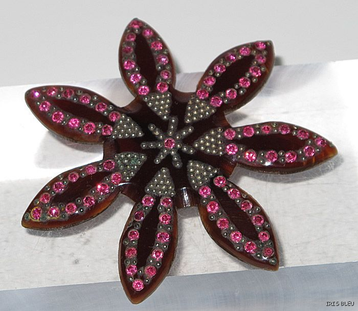 Vintage art deco celluloid pin brooch with rhinestones from iris bleu bouti - Boutique deco vintage ...