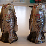 RARE Pair of Trout Fish Souvenir Cast Iron Salt and Pepper shakers