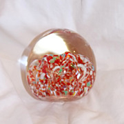 SALE Controlled Bubble Flit Egg Shaped Paperweight by United China and Glass Company
