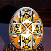 Tribal handpainted egg with stand