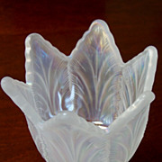Vintage Fenton Iridescent Glass Tulip 2 way Candle holder