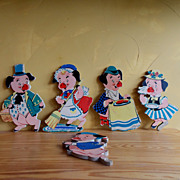 SALE Mother Goose This Little Piggy Pin up art set of 5