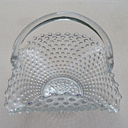 Large Crimped Fluted Hobnail Glass Basket by Fenton