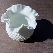 Medium Fenton Ruffled Hobnail Vase