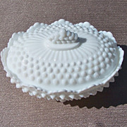 Fenton Footed Oval Hobnail Candy Dish