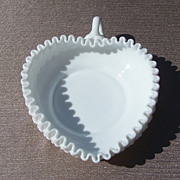 Fenton White Milk Glass Hobnail heart shaped candy dish
