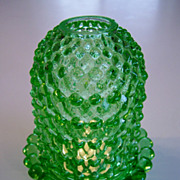 Vintage Light Green Hobnail Fairy Lamp
