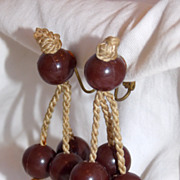 SALE Vintage Germany made Hemp Bead Dangle earrings